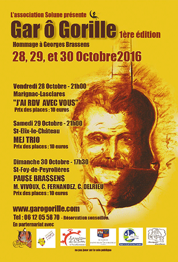 Affiche - Festival Gar Ô Gorille - 28, 29 & 30 octobre 2016