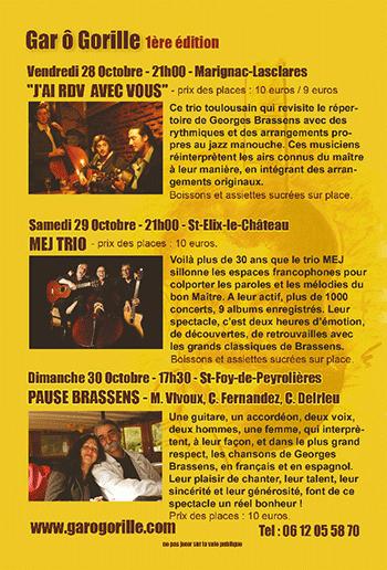 Programme - Festival Gar Ô Gorille - 28, 29 & 30 octobre 2016