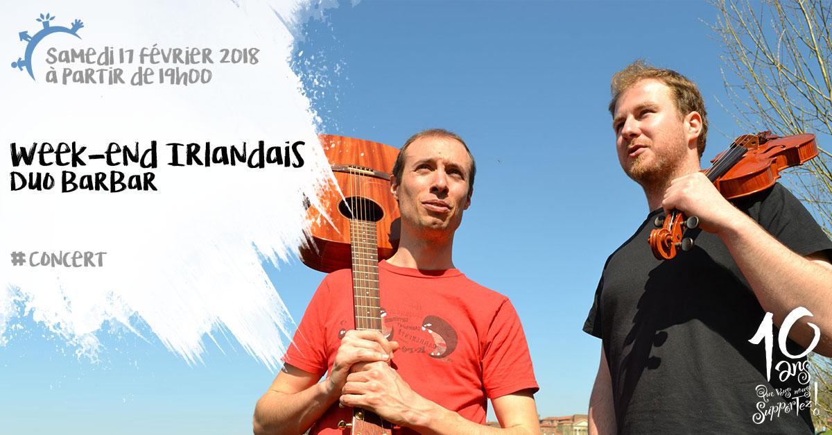 Week-end irlandais, Concert, Duo Barbar, samedi 17 février 2018