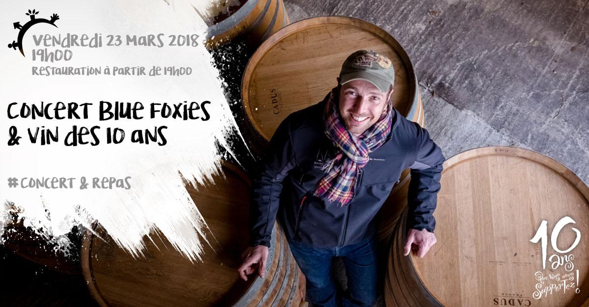 Concert Blue Foxies et vin des 10 ans, vendredi 23 mars 2018