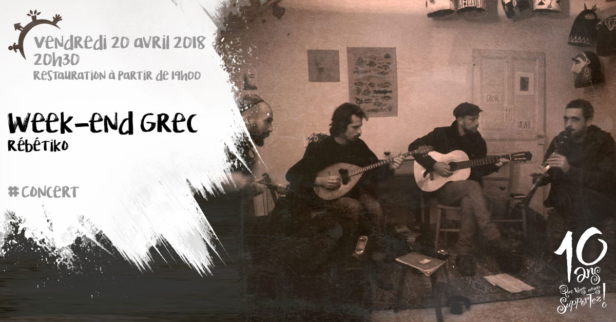 Week-end grec, concert, Rébétiko, vendredi 20 avril 2018